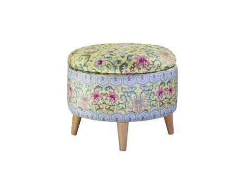 Fine Asianliving Ottoman Pouffe  Storage box Footstool Yellow Ø 49cm