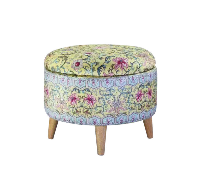 Fine Asianliving Ottoman Pouf Storage Box Footstool Upholstered Removable Lid Yellow Ø 49cm