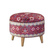 Fine Asianliving Ottoman Pouffe Storage box Footstool Red Ø 39cm