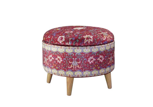 Fine Asianliving Fine Asianliving Ottoman Pouf Storage Box Footstool Upholstered Removable Lid Red Ø 39cm