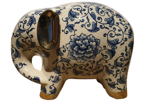 Fine Asianliving Porselein Olifant Blauw Gouden Oortjes B27xD13xH20cm