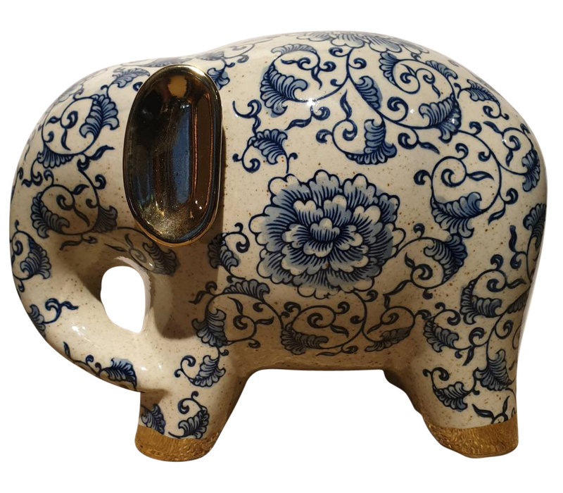 Blue And White Elephant White Golden Ears Porcelain Large
