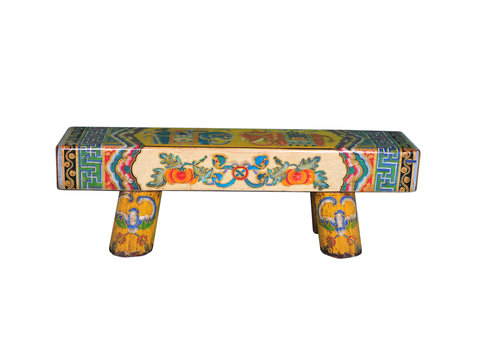 Fine Asianliving Chinese Bench Solid Wood Hand-painted