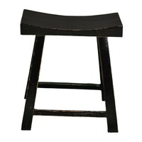 Fine Asianliving Chinese Stool Glossy Black W46xD21xH52cm