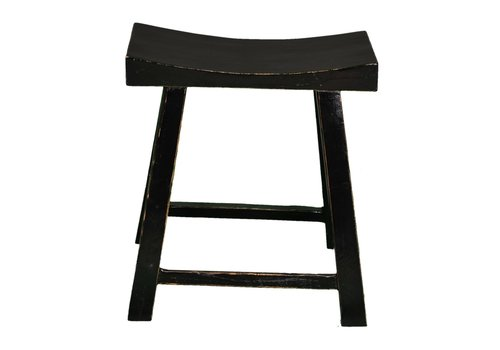 Fine Asianliving Fine Asianliving Chinese Stool Glossy Black W46xD21xH52cm