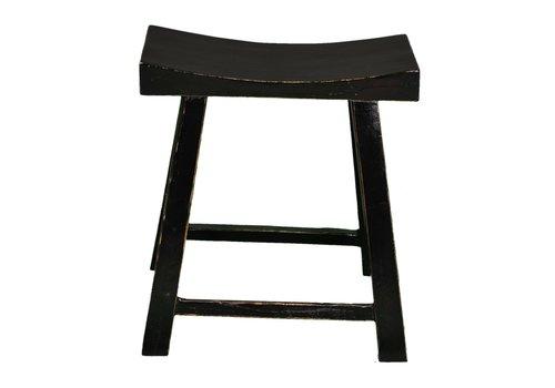 Fine Asianliving Taburete de Madera Chino Negro Brillante Anch.46 x Prof.21 x Alt.52 cm