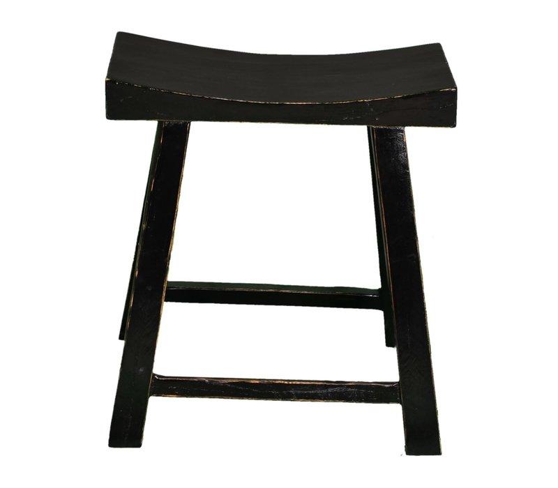 Taburete de Madera Chino Negro Brillante Anch.46 x Prof.21 x Alt.52 cm