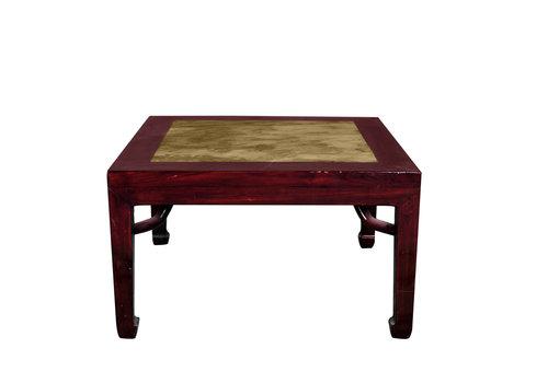 Fine Asianliving Table d'Appoint Chinoise Antique Plateau en Marbre L50xP50xH50cm