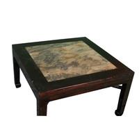 Antieke Chinese Bijzettafel Met Marmer Blad B50xD50xH50cm