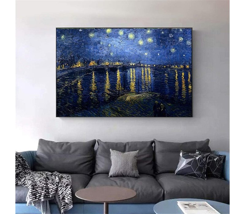 Wall Art Canvas Print 120x80cm Starry Night above Rhone van Gogh Hand Embellished Giclee Handmade