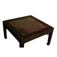 Tavolino Cinese Antico con Piano Tavolo in Marmo L90xP90xA51cm