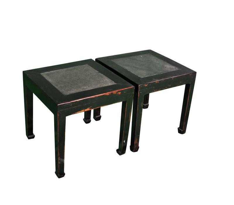 Antique Chinese Sidetable Marble Top Set/2 W80xD80xH50cm