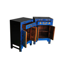 Chinese Cabinet W58xD37xH85cm Handpainted Butterflies Blue