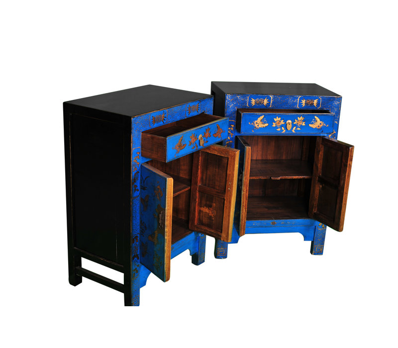 Chinesischer Schrank Handbemalt Schmetterlinge Blau B58xT37xH85cm