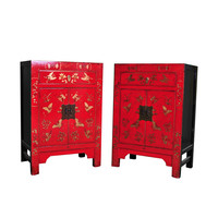 Chinese Cabinet W58xD37xH85cm Hand-painted Butterflies Red