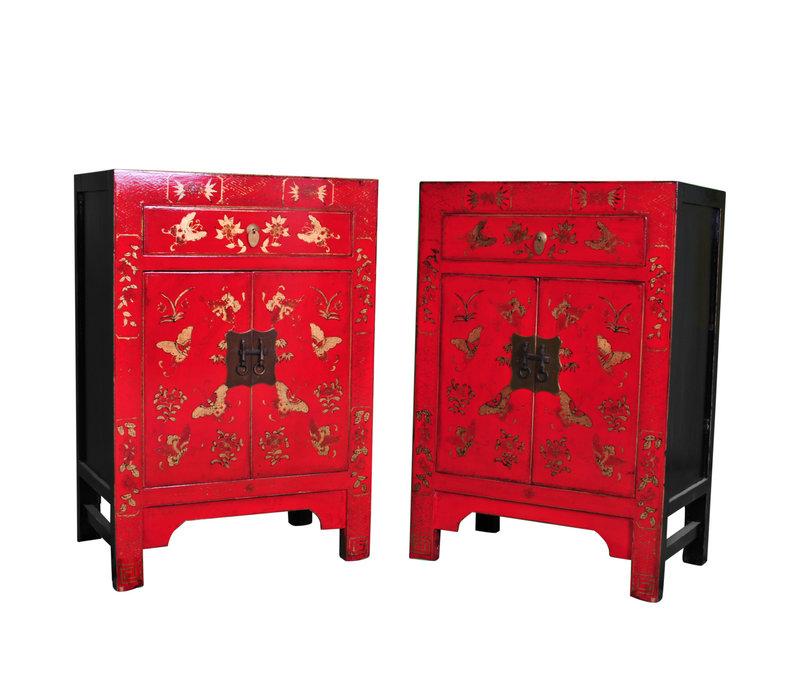 Chinese Kast B58xD37xH85cm Handgeschilderde Vlinders Rood Groot
