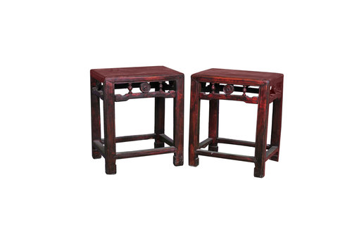 Fine Asianliving Antiker Chinesischer Hocker Holz B40xT30xH48cm