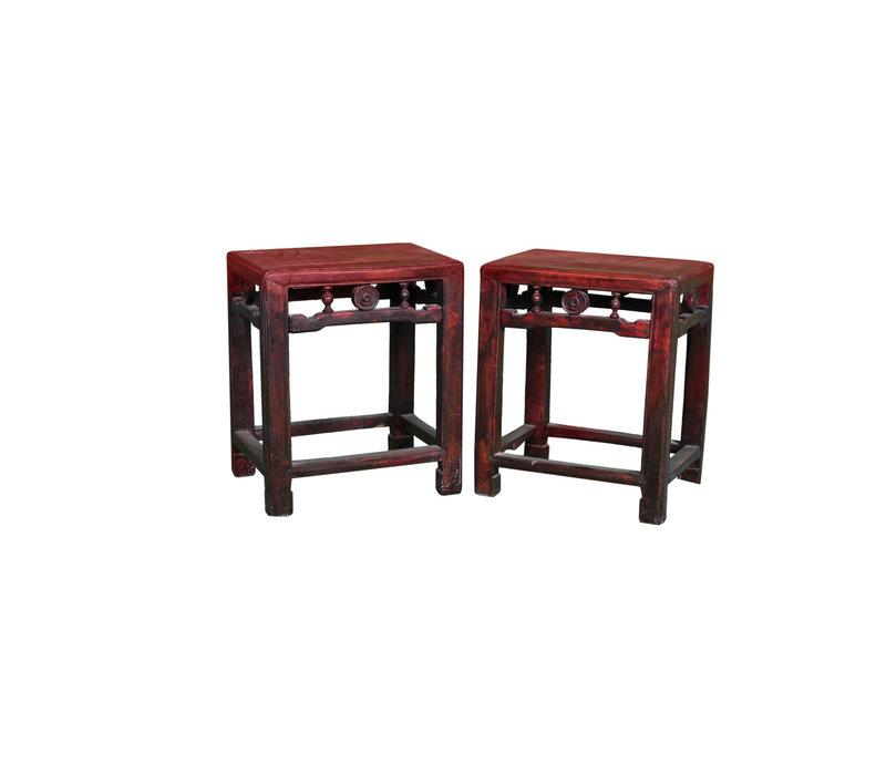 Antiker Chinesischer Hocker Holz B40xT30xH48cm