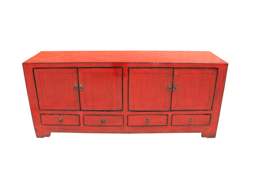 Fine Asianliving Antieke Chinese TV Meubel Rood B138xD38xH62cm
