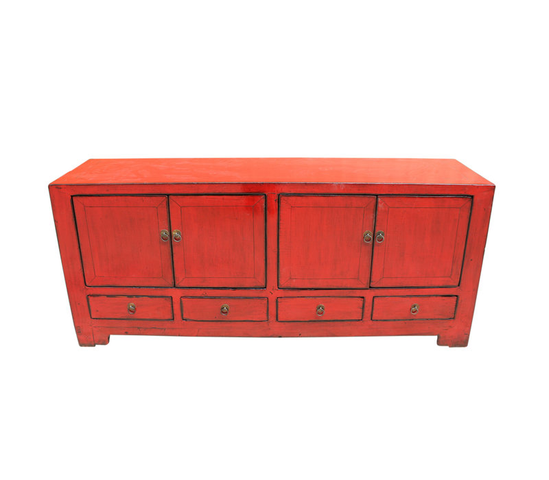 Antique Chinese TV Cabinet Red W138xD38xH62cm