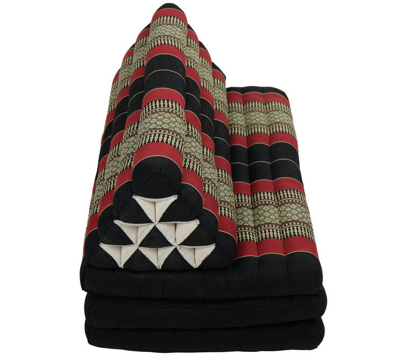 Coussin Thaï Triangulaire avec Matelas 3 Parties XXXL - 90x190cm - Noir