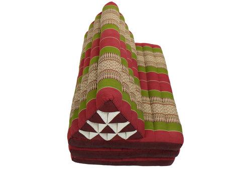 Fine Asianliving Coussin Thaï Triangulaire avec Matelas 3 Parties XXXL - 90x190cm - Rouge Vert
