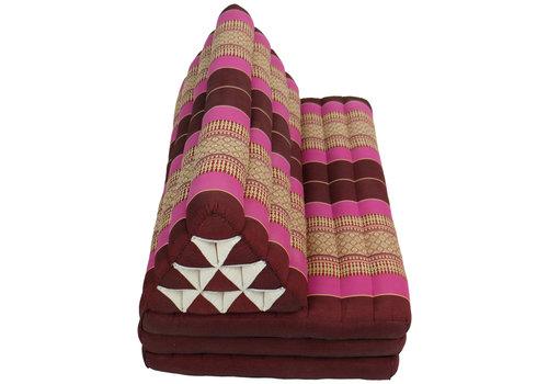 Fine Asianliving Coussin Thaïlandais Triangulaire Matelas 3 Parties XXXL 90x190cm Rose