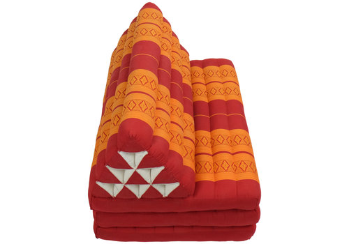 Fine Asianliving Coussin Thaï Triangulaire avec Matelas 3 Parties XXXL - 90x190cm - Orange