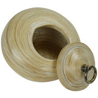 Pot Décoratif en Bambou avec Couvercle Blanc 6 pouces Fait Main en Thaïlande