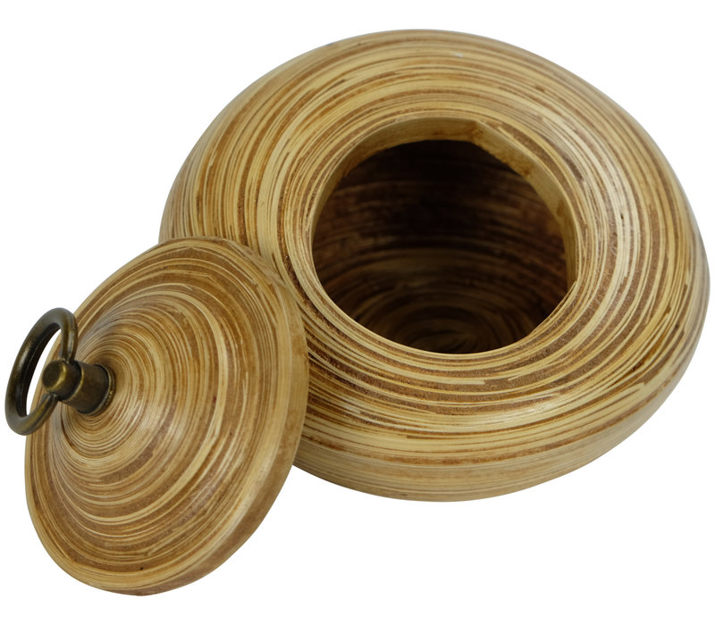 Storage Pot with Lid Bamboo 6 inch Handmade in Thailand Natural