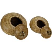 Opberg Pot Met Deksel Bamboe 8 inch Handgemaakt in Thailand Naturel