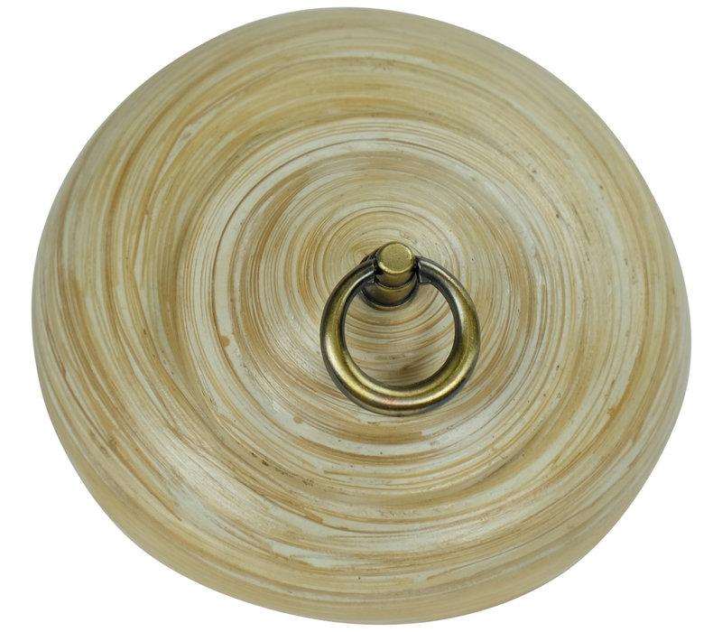 Pot Décoratif en Bambou avec Couvercle Blanc 8 pouces Fait Main en Thaïlande
