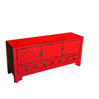 Antique Chinese TV Cabinet Red W137xD38xH62cm