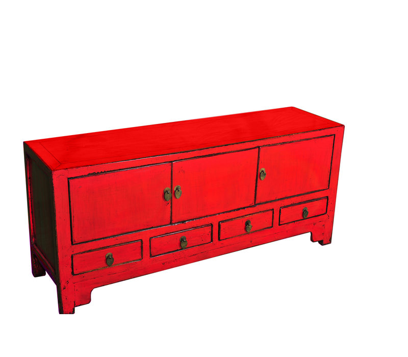 Meuble TV Chinois Antique Rouge L137xP38xH62cm