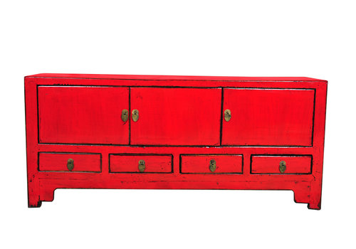Fine Asianliving Mueble TV Chino Antiguo Rojo A137xP38xA62cm