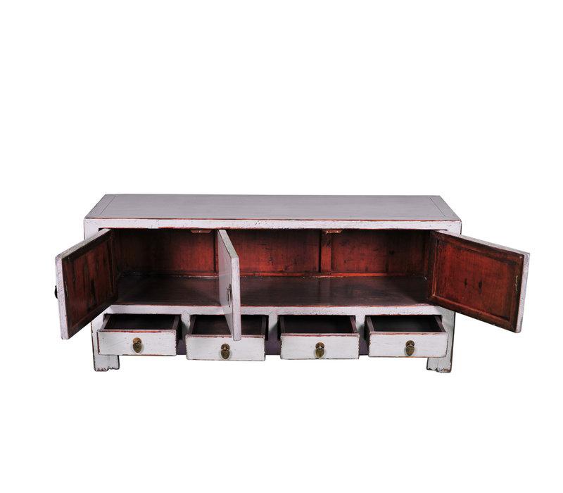 Antike Chinesische TV-Bank Weiß B130xT40xH58cm