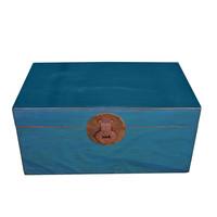 Baule Cassapanca Cinese Antico Blu L95xP56xA44cm