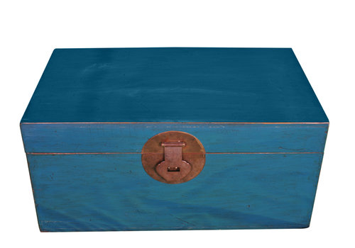 Fine Asianliving Antique Chinese Trunk Blue W95xD56xH44cm