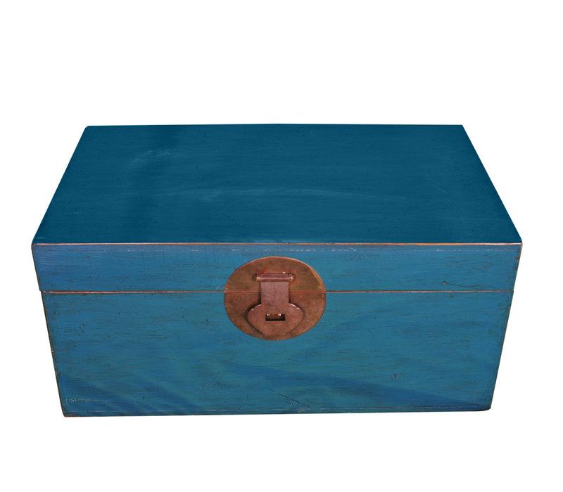 Malle Coffre de Rangement Chinois Antique Bleu L95xP56xH44cm
