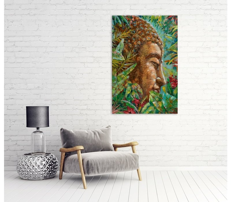Wall Art Canvas Print 80x120cm Buddha Green Leaves Hand Embellished Giclee Handmade