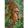 Fine Asianliving Wall Art Canvas Print 80x120cm Buddha Green Leaves Hand Embellished Giclee Handmade