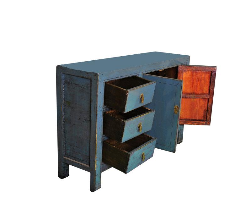 Antikes Chinesisches Sideboard Kommode Blau B139xT39xH91cm