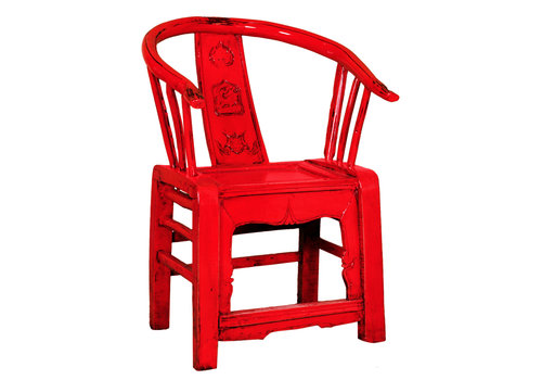 Fine Asianliving Chinese Stoel Traditioneel Rood B69xD69xH95cm