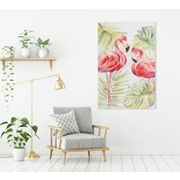 Schilderij Wall Art Canvas Print 80x120cm Flamingo Green Leaves Hand Embellished Giclee Handmade