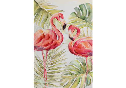 Fine Asianliving Schilderij Wall Art Canvas Print 80x120cm Flamingo Green Leaves Hand Embellished Giclee Handmade