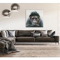 Tableau sur Toile Gorille Giclée et Embelli à la Main L70xH70cm