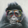 Fine Asianliving Schilderij Wall Art Canvas Print 70x70cm Smoking Gorilla Hand Embellished Giclee Handmade