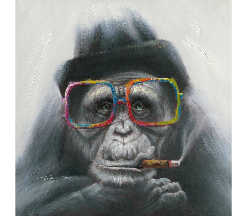 Wall Art Canvas Print 70x70cm Smoking Gorilla Hand Embellished Giclee Handmade