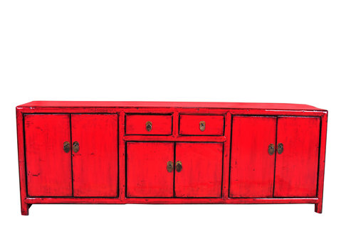Fine Asianliving Antique Chinese TV Cabinet Red W148xD38xH56cm
