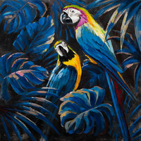 Wall Art Canvas Print 100x100cm Blue Parrots in Love Hand Embellished Giclee Handmade